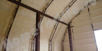 Утепление птицефабрики, напылением ПЕНОГЛАС, изнутри.